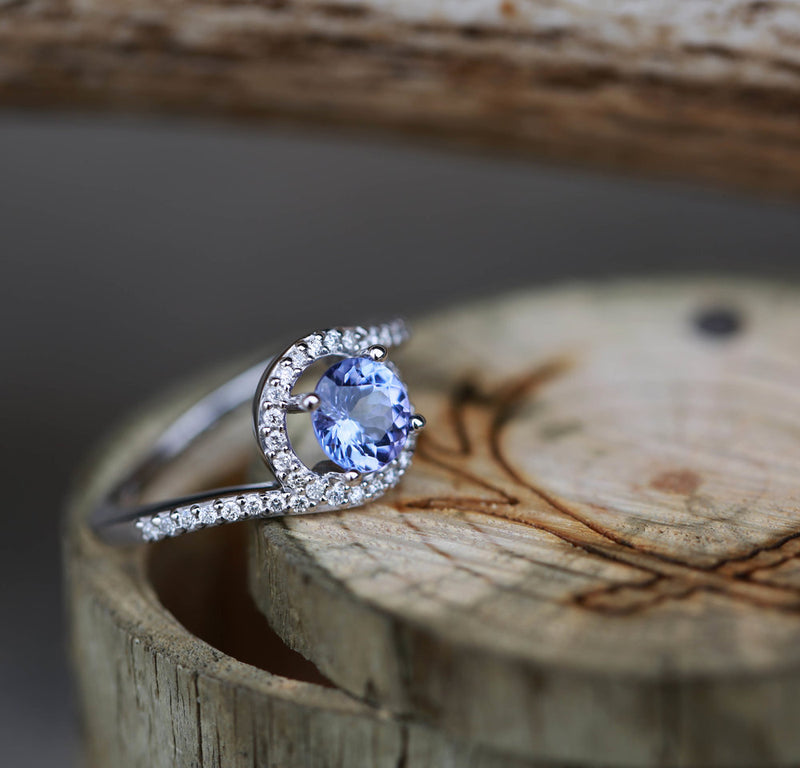 TANZANITE & DIAMOND ACCENT ENGAGEMENT RING (available in 14K white gold) -  Custom Rings Handcrafted By Staghead Designs
