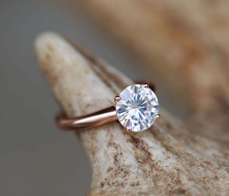14K GOLD 4 PRONG SOLITAIRE ENGAGEMENT RING WITH 2ct MOISSANITE STONE (available in 14K rose, white or yellow gold) - Staghead Designs - Antler Rings By Staghead Designs