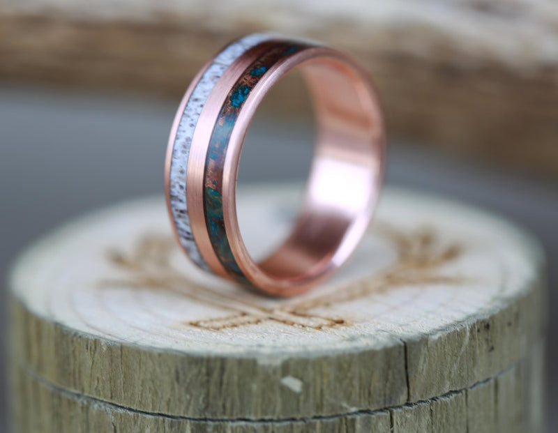 Men's Patina Copper Wedding Ring with Antler & 14K Rose Gold - Staghead Designs