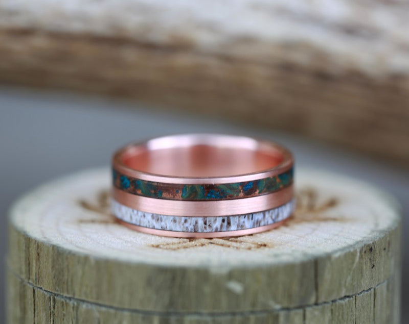 14K GOLD WEDDING BAND WITH PATINA COPPER & ANTLER INLAYS (available in 14K white, rose, or yellow gold) - Staghead Designs - Antler Rings By Staghead Designs