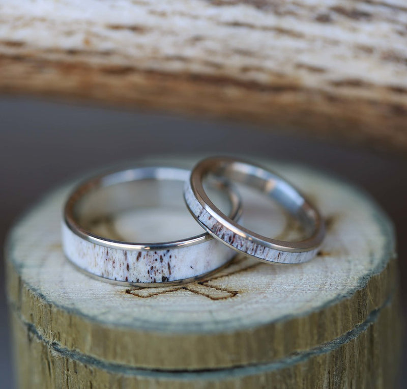 """RAINIER"" - MATCHING SET OF SINGLE CHANNEL ANTLER RINGS (available in titanium, silver, black zirconium, damascus steel & 14K white, rose or yellow gold) -  Custom Rings Handcrafted By Staghead Designs"