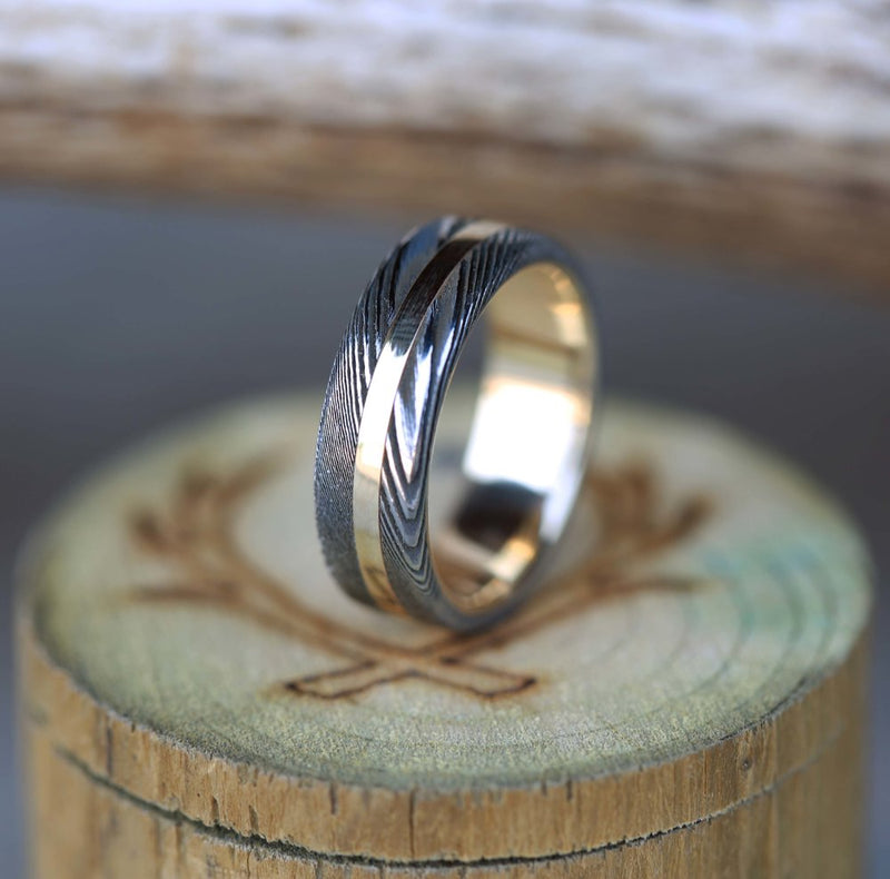 14K GOLD LINED MEN'S WEDDING BAND FEATURING ETCHED DAMASCUS STEEL & 14K GOLD INLAY (available in 14K white, rose, or yellow gold) - Staghead Designs - Antler Rings By Staghead Designs