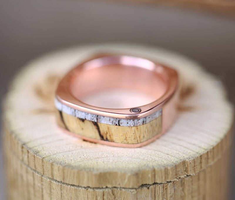 CUSTOM CAST 14K GOLD WEDDING BAND FEATURING OFFSET DIAMONDS, SPALTED MAPLE & ELK ANTLER (available in 14K white, rose or yellow gold) -  Custom Rings Handcrafted By Staghead Designs