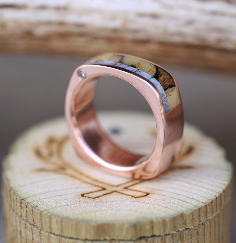 CUSTOM CAST 14K GOLD WEDDING BAND FEATURING OFFSET DIAMONDS, SPALTED MAPLE & ELK ANTLER (available in 14K white, rose or yellow gold) - Staghead Designs - Antler Rings By Staghead Designs