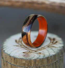 ACRYLIC LINED WEDDING RING FEATURING BLACK AND WHITE EBONY WOOD AND JASPER INLAY (Acrylic available in Orange, Blue, Red, White, and Black) - Staghead Designs - Antler Rings By Staghead Designs