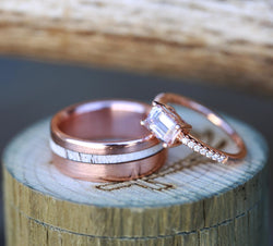 WOMEN'S MORGANITE WEDDING RING & MEN'S ANTLER WEDDING BAND (available in 14K rose gold) - Staghead Designs - Antler Rings By Staghead Designs