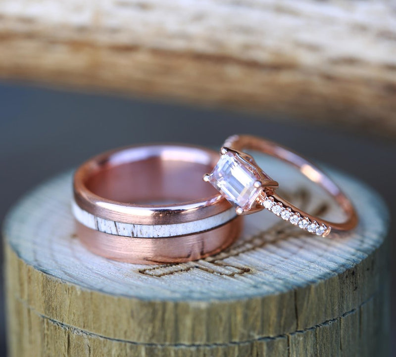 WOMEN'S MORGANITE WEDDING RING & MEN'S ANTLER WEDDING BAND (available in 14K rose gold) -  Custom Rings Handcrafted By Staghead Designs