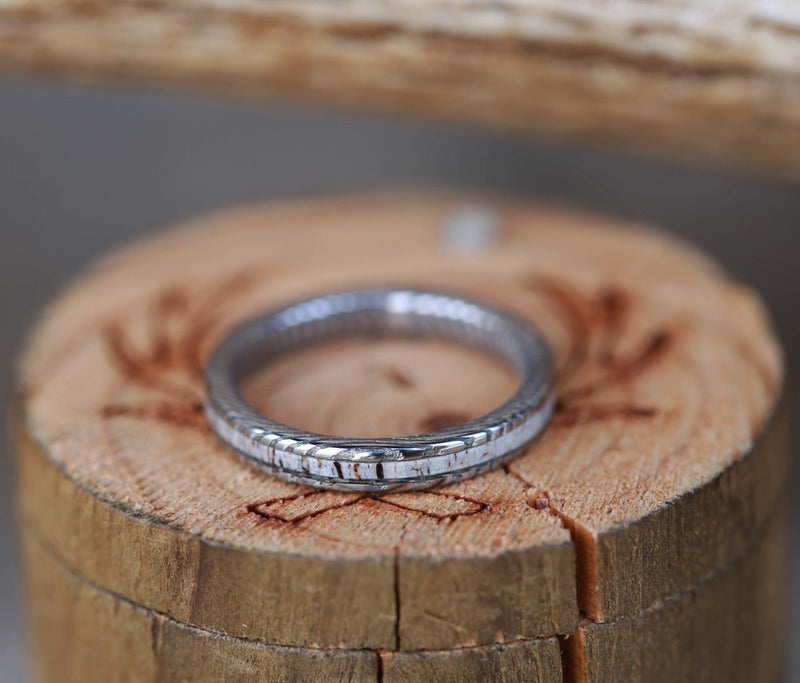 WOMEN'S STACKING BAND FEATURING ETCHED DAMASCUS STEEL AND AN ANTLER INLAY (available in silver, black zirconium, damascus steel & 14K rose, yellow, or white gold) - Staghead Designs - Antler Rings By Staghead Designs