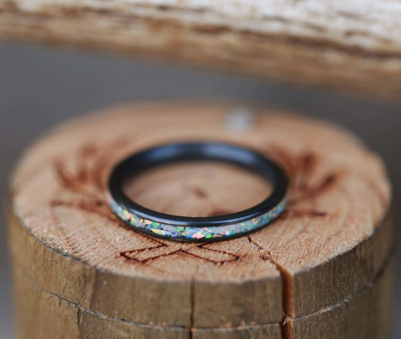 BLACK ZIRCONIUM STACKING BAND WITH FIRE & ICE OPAL INLAY (available in silver, black zirconium, damascus steel & 14K white, rose, or yellow gold) -  Custom Rings Handcrafted By Staghead Designs