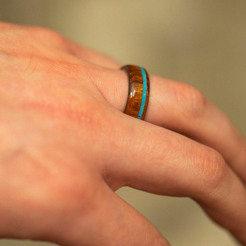 IRONWOOD & TURQUOISE WEDDING RING (available in titanium, silver, black zirconium & 14K white, rose, or yellow gold) - Staghead Designs - Antler Rings By Staghead Designs