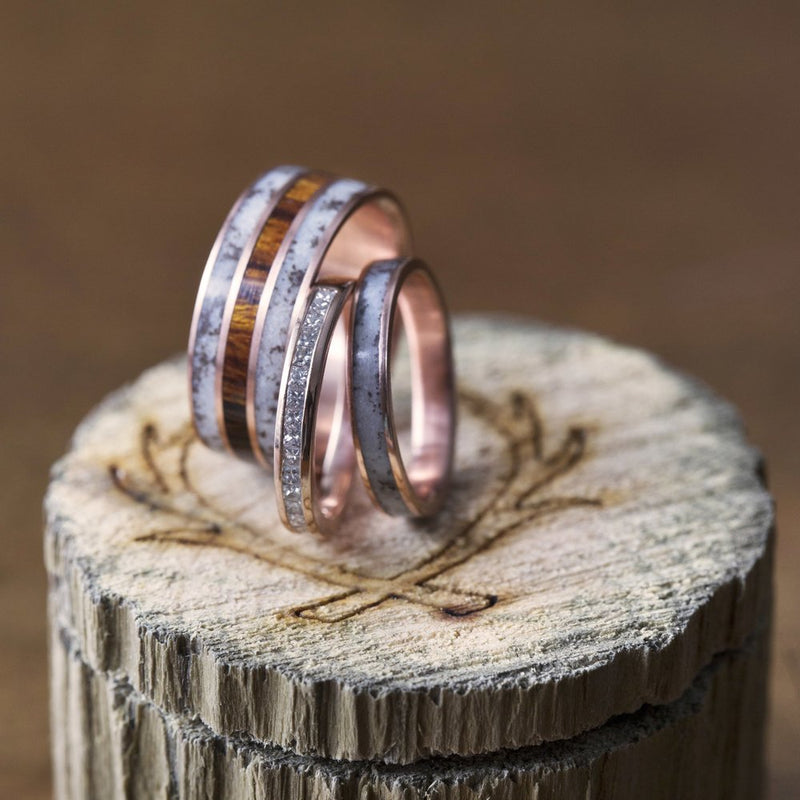 """RIO"" - 14K GOLD RING WITH DESERT IRONWOOD AND ANTLER INLAYS (available in 14K white, rose or yellow gold) -  Custom Rings Handcrafted By Staghead Designs"
