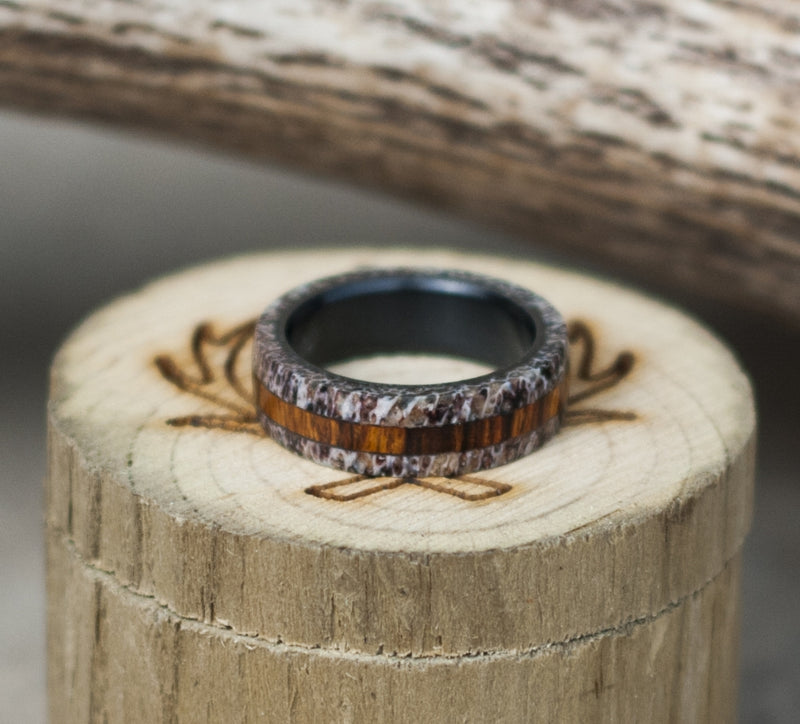 IRONWOOD & ANTLER WEDDING BAND ON BLACK ZIRCONIUM (available in silver, black zirconium & 14K white, rose, or yellow gold) -  Custom Rings Handcrafted By Staghead Designs