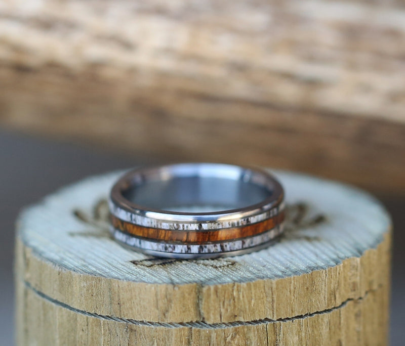 TITANIUM BAND WITH WOOD AND ANTLER INLAYS (available in titanium, silver, black zirconium, damascus steel & 14K white, rose, or yellow gold) -  Custom Rings Handcrafted By Staghead Designs