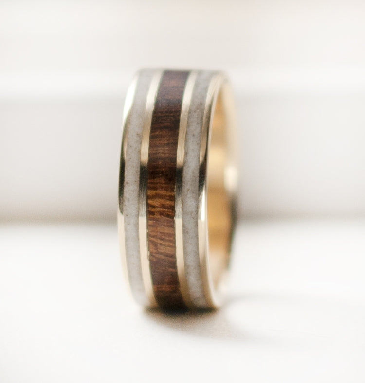 """RIO"" - 3 CHANNEL WOOD & ANTLER WEDDING BAND ON 14K GOLD (available in 14K white, rose or yellow gold) - Staghead Designs - Antler Rings By Staghead Designs"