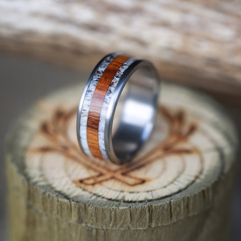 TITANIUM BAND WITH WOOD AND ANTLER INLAYS (available in titanium, silver, black zirconium, damascus steel & 14K white, rose, or yellow gold) - Staghead Designs - Antler Rings By Staghead Designs
