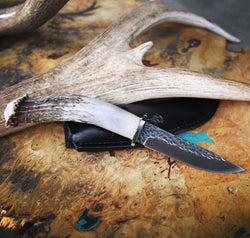 STAGHEAD DESIGNS KNIFE - 4.5in HAMMERED BLADE WITH ANTLER HANDLE - Staghead Designs - Antler Rings By Staghead Designs