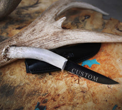 CUSTOMIZED STAGHEAD DESIGNS KNIFE - 4.5in BLACK OXIDIZED BLADE & ANTLER HANDLE -  Custom Rings Handcrafted By Staghead Designs