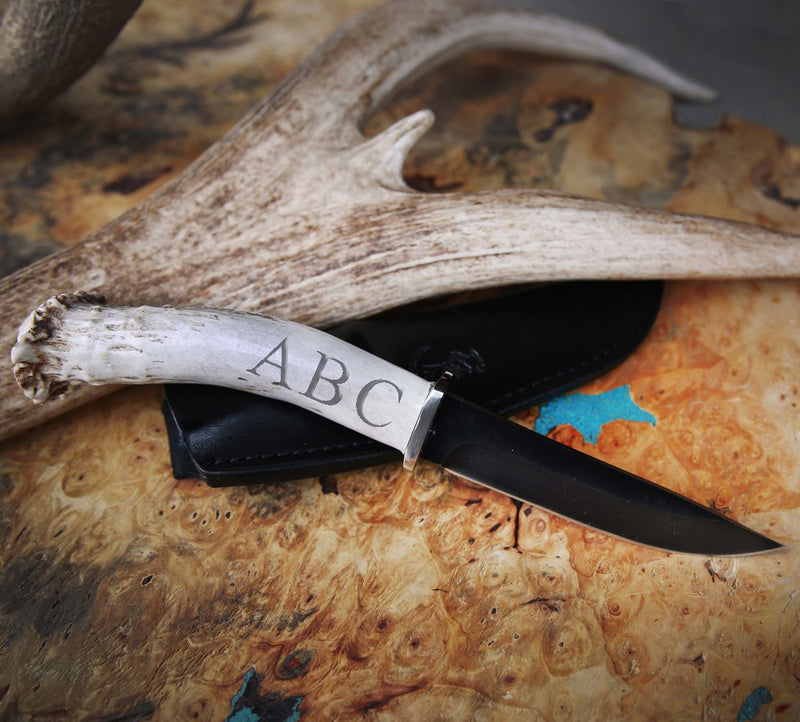 CUSTOMIZED STAGHEAD DESIGNS KNIFE - 4.5in BLACK OXIDIZED BLADE & ANTLER HANDLE - Staghead Designs - Antler Rings By Staghead Designs