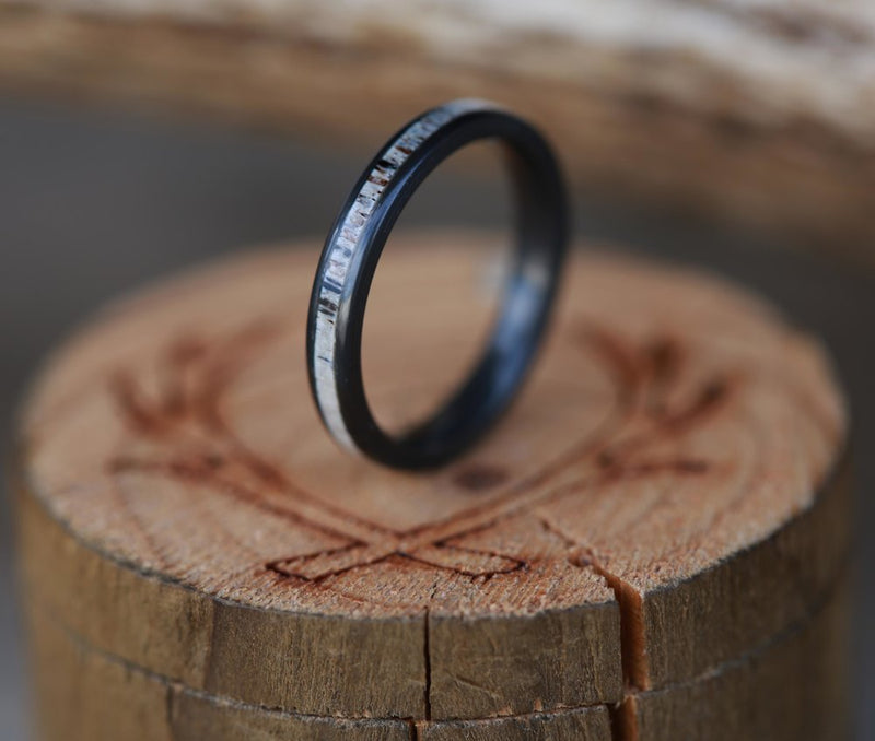 BLACK ZIRCONIUM STACKING BAND WITH ANTLER INLAY (available in silver, black zirconium, damascus steel & 14K white, yellow, or rose gold) -  Custom Rings Handcrafted By Staghead Designs