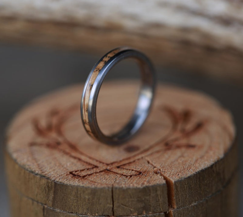 WOMEN'S STACKING BAND WITH WHISKEY BARREL OAK (available in titanium, silver, black zirconium, damascus steel, silver, and 14K white, yellow, or rose gold) - Staghead Designs - Antler Rings By Staghead Designs