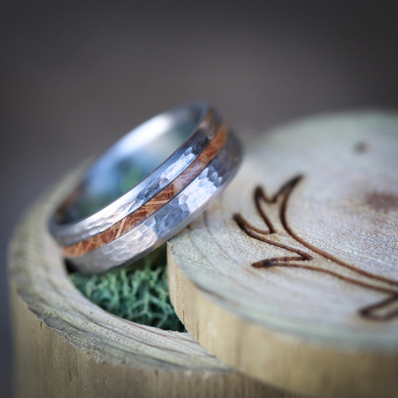 """VERTIGO"" WEDDING RING IN HAMMERED TITANIUM WITH AN OFFSET WHISKEY BARREL OAK INLAY (available in silver, black zirconium, damascus steel & 14K white, rose or yellow gold) - Staghead Designs - Antler Rings By Staghead Designs"