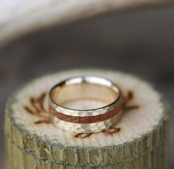 """VERTIGO"" IN HAMMERED 14K GOLD WITH WHISKEY BARREL OAK INLAY - MEN'S WEDDING RING (available in 14K white, rose, or yellow gold) -  Custom Rings Handcrafted By Staghead Designs"