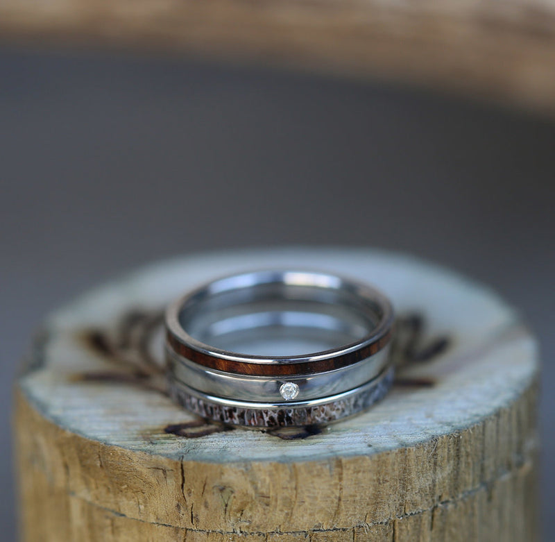 SET OF 3 STACKING BANDS FEATURING DIAMOND, ANTLER & WOOD (available in 14K white, rose, or yellow gold) - Staghead Designs - Antler Rings By Staghead Designs