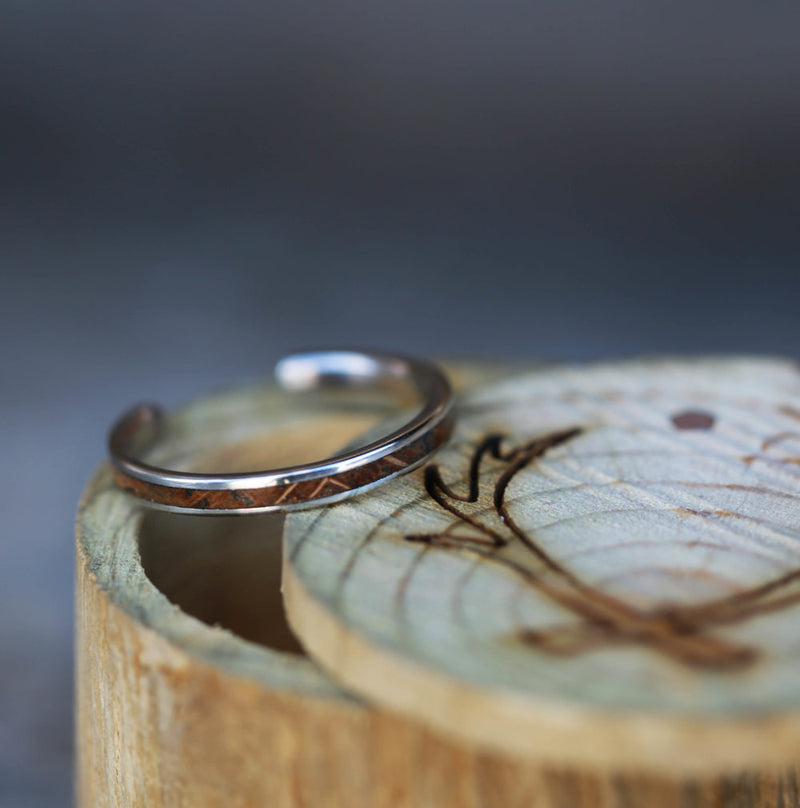 14K GOLD CUFFED STACKING BAND WITH WHISKEY BARREL OAK (available in 14K white, yellow, or rose gold) - Staghead Designs - Antler Rings By Staghead Designs