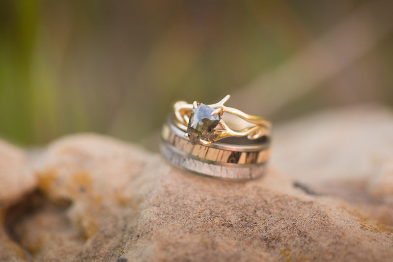 SPALTED MAPLE AND ANTLER WEDDING BAND SET ON TITANIUM (available in titanium, silver, black zirconium, damascus steel & 14K white, rose or yellow gold) -  Custom Rings Handcrafted By Staghead Designs