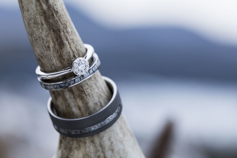 ELK ANTLER STACKING WEDDING BAND (available in titanium, silver, black zirconium, damascus steel & 14K white, rose or yellow gold) - Staghead Designs - Antler Rings By Staghead Designs