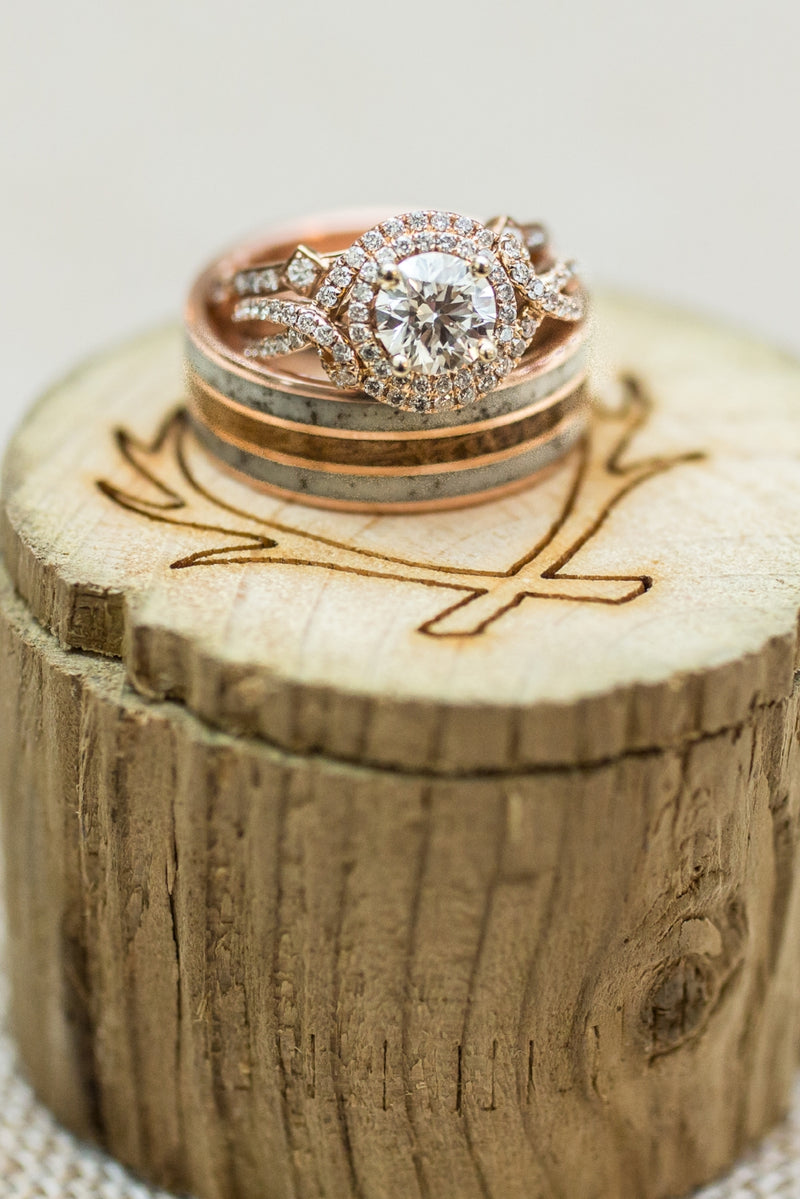 """RIO"" IN 14K GOLD RING WITH WHISKEY BARREL & ANTLER INLAYS (available in 14K white, rose or yellow gold) - Staghead Designs - Antler Rings By Staghead Designs"
