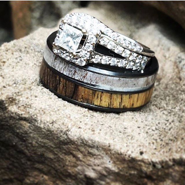 SPALTED MAPLE AND ANTLER WEDDING BAND ON BLACK ZIRCONIUM (available in silver, black zirconium, damascus steel & 14K white, rose, or yellow gold) -  Custom Rings Handcrafted By Staghead Designs