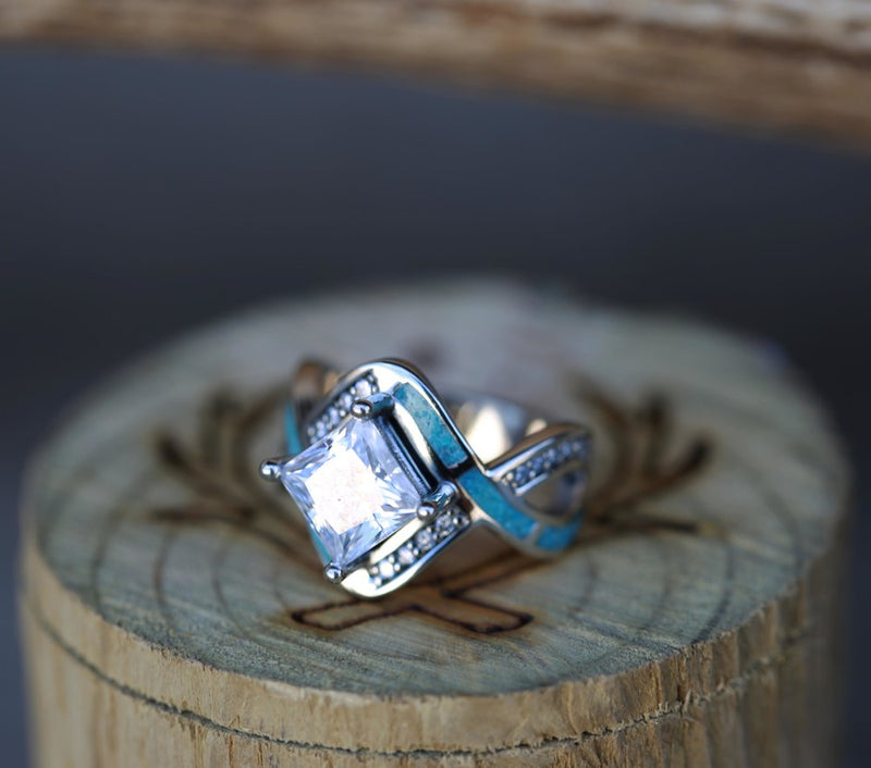 """HELIX"" 1ct MOISSANITE ENGAGEMENT RING WITH TURQUOISE INLAY (available in 14K rose, yellow, or white gold) -  Custom Rings Handcrafted By Staghead Designs"