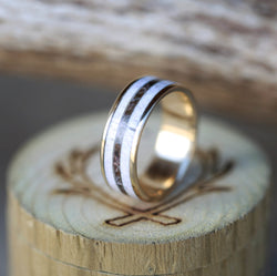 14K GOLD, CAMO, AND ELK ANTLER RING (available in 14K white, rose or yellow gold) - Staghead Designs - Antler Rings By Staghead Designs