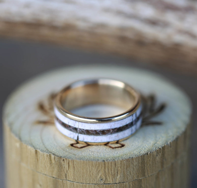 ELK ANTLER & CAMO WEDDING BAND (available in titanium, silver, black zirconium, damascus steel & 14K white, rose, or yellow gold) - Staghead Designs - Antler Rings By Staghead Designs