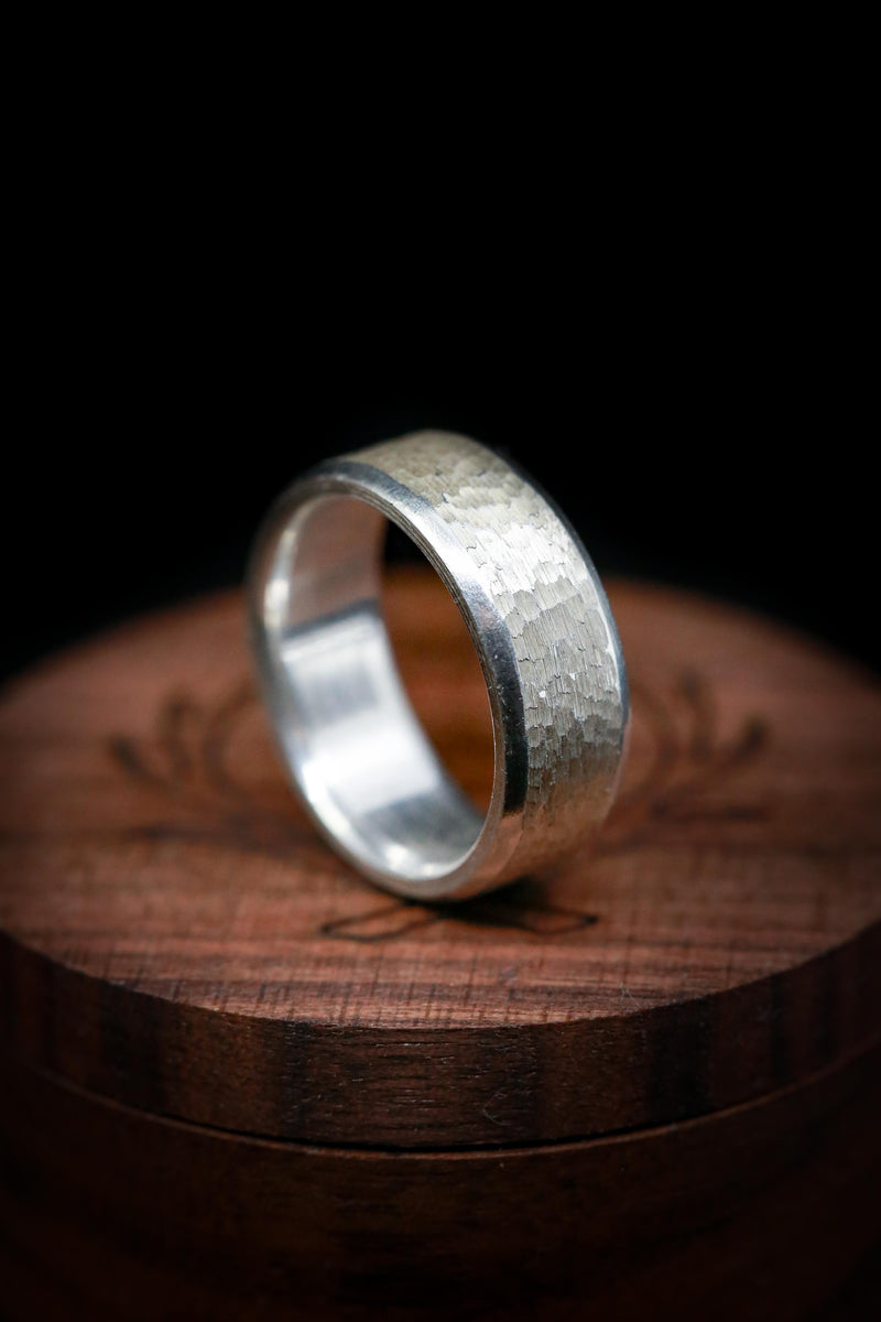HAND-TURNED TITANIUM WEDDING BAND WITH HAMMERED FINISH (available in titanium, silver, black zirconium, damascus steel & 14K white, rose, or yellow gold)