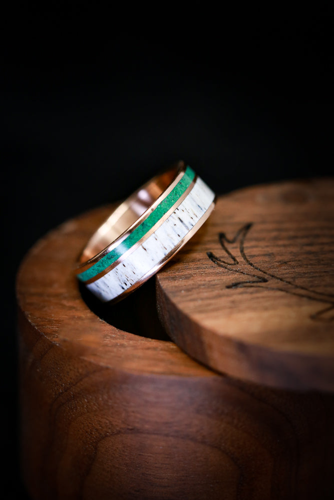MALACHITE WEDDING RING WITH ANTLER ON 14K GOLD (available in 14K white, yellow, or rose gold)
