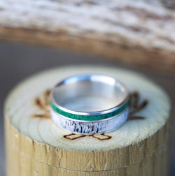 SILVER WEDDING BAND WITH MALACHITE AND ANTLER INLAYS (available in silver, black zirconium, damascus steel & 14K white, yellow, or rose gold) - Staghead Designs - Antler Rings By Staghead Designs