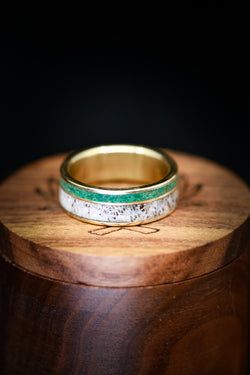 Men's and Women's Malachite Wedding Band - Antler Wedding Ring - Staghead Designs