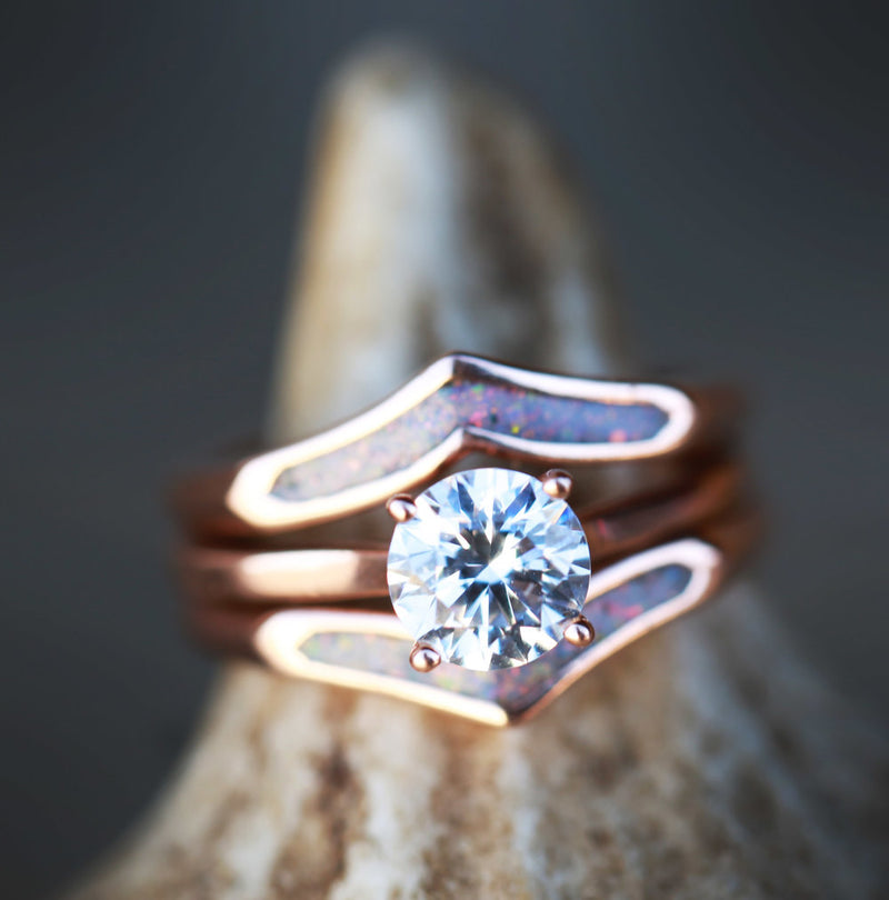 1ct SOLITAIRE MOISSANITE STONE ON 14K GOLD WITH OPAL RING GUARD (available in 14K rose, yellow, or white gold) - Staghead Designs - Antler Rings By Staghead Designs