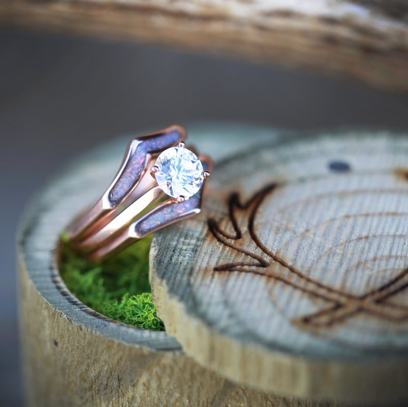 1ct SOLITAIRE MOISSANITE STONE ON 14K GOLD WITH OPAL RING GUARD (available in 14K rose, yellow, or white gold) -  Custom Rings Handcrafted By Staghead Designs