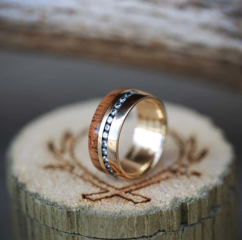 MATCHING KOA WOOD WEDDING BANDS WITH DIAMONDS AND MOTHER OF PEARL ON 14K GOLD (available in 14K white, rose or yellow gold) -  Custom Rings Handcrafted By Staghead Designs