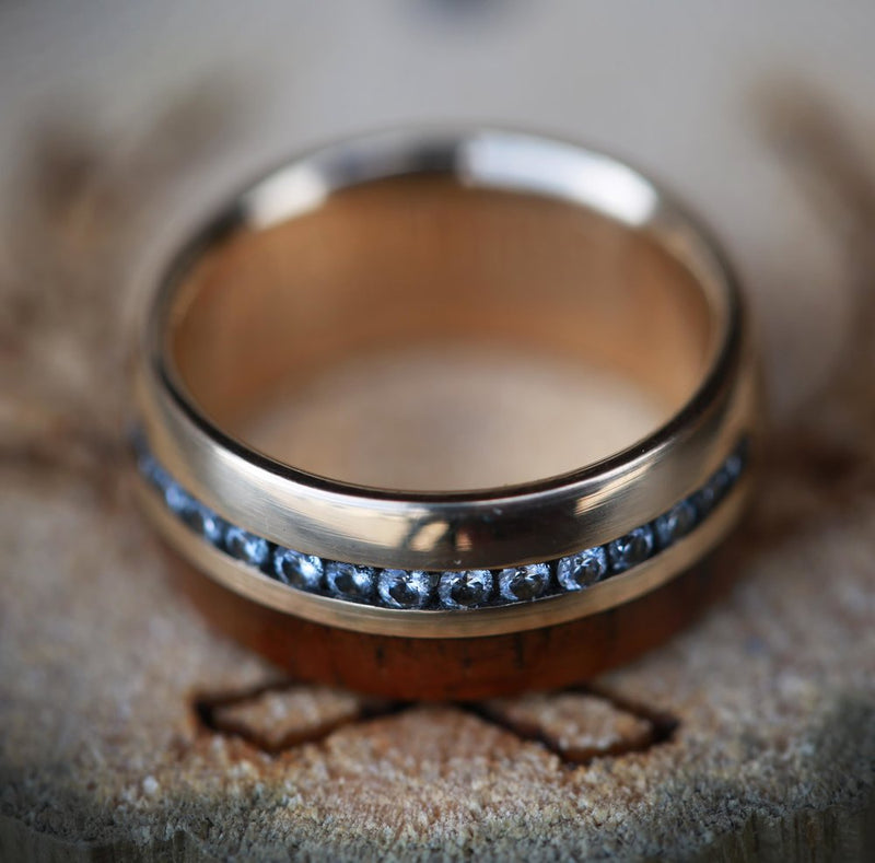 KOA WOOD AND DIAMONDS SET ON 14K GOLD WEDDING BAND (available in 14K white, rose, or yellow gold) - Staghead Designs - Antler Rings By Staghead Designs