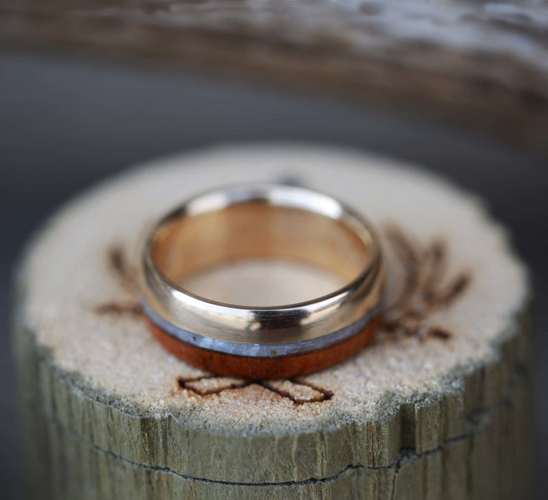 KOA WOOD & MOTHER OF PEARL SET ON 14K GOLD WEDDING BAND (available in 14K rose, yellow, and white gold) -  Custom Rings Handcrafted By Staghead Designs