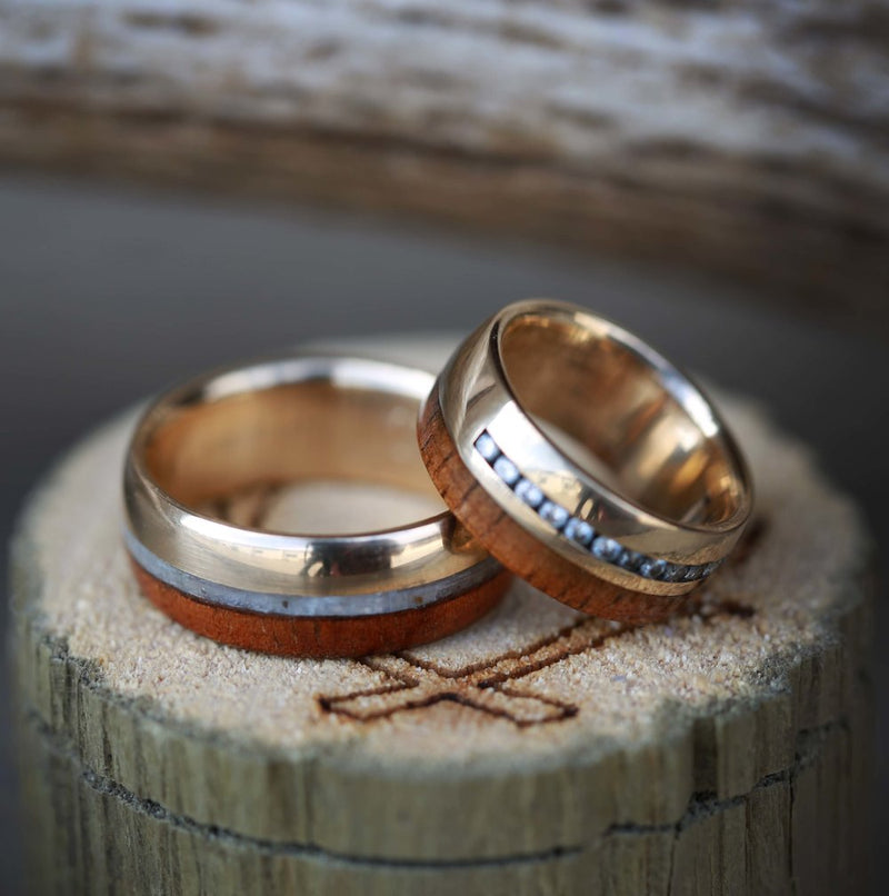 MATCHING KOA WOOD WEDDING BANDS WITH DIAMONDS & MOTHER OF PEARL ON 14K –  Staghead Designs
