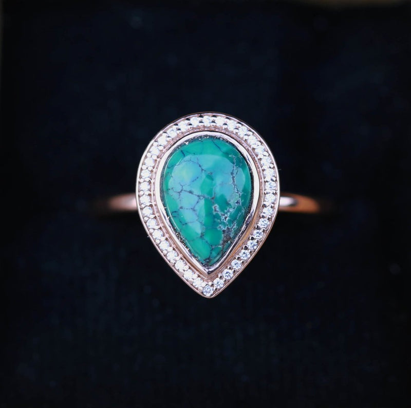 """TERRA"" IN PEAR SHAPE, 14K GOLD & TURQUOISE WITH DIAMOND HALO (available in 14K rose, white, and yellow gold) -  Custom Rings Handcrafted By Staghead Designs"