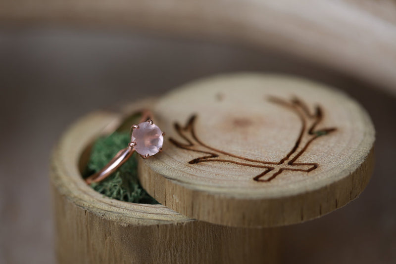1ct ROSE QUARTZ ENGAGEMENT RING ON 14K GOLD BASE (available in 14K rose, yellow, or white gold) - Staghead Designs - Antler Rings By Staghead Designs