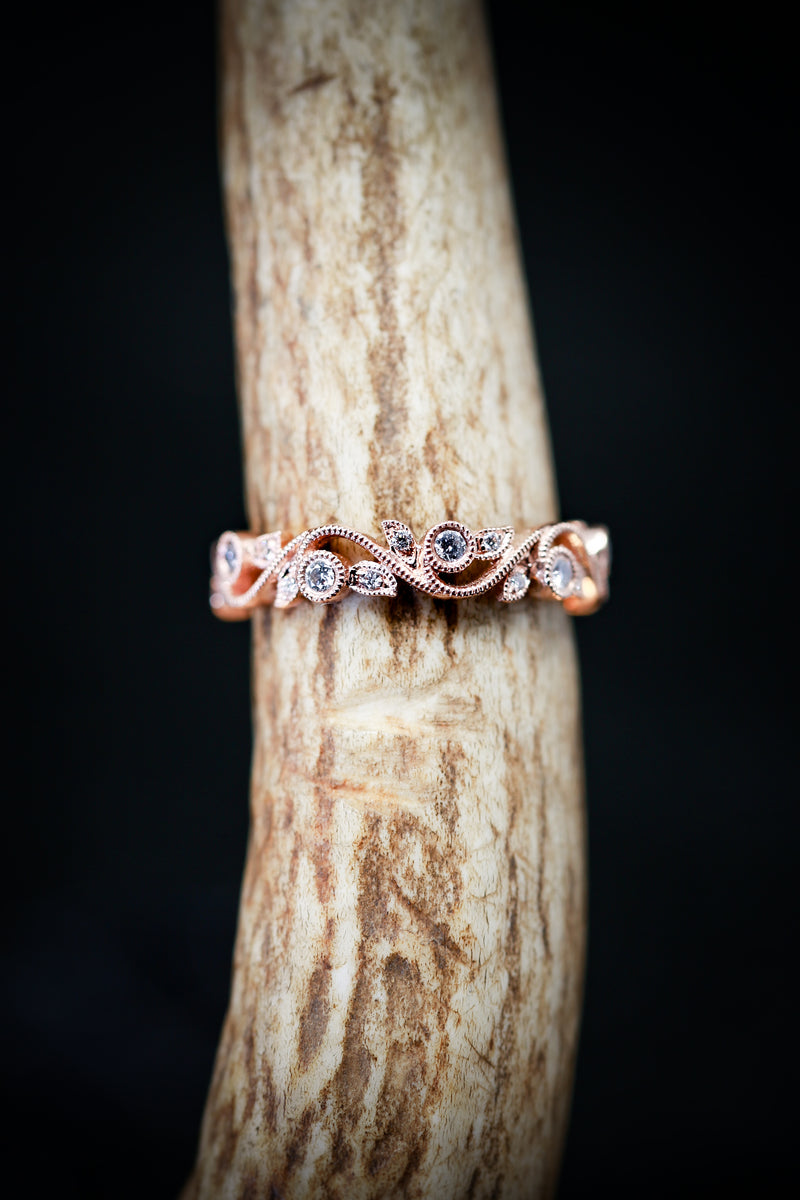 14K GOLD FLORAL BAND WITH 1/4ctw DIAMONDS (available in 14K white, yellow & rose gold) - Staghead Designs - Antler Rings By Staghead Designs