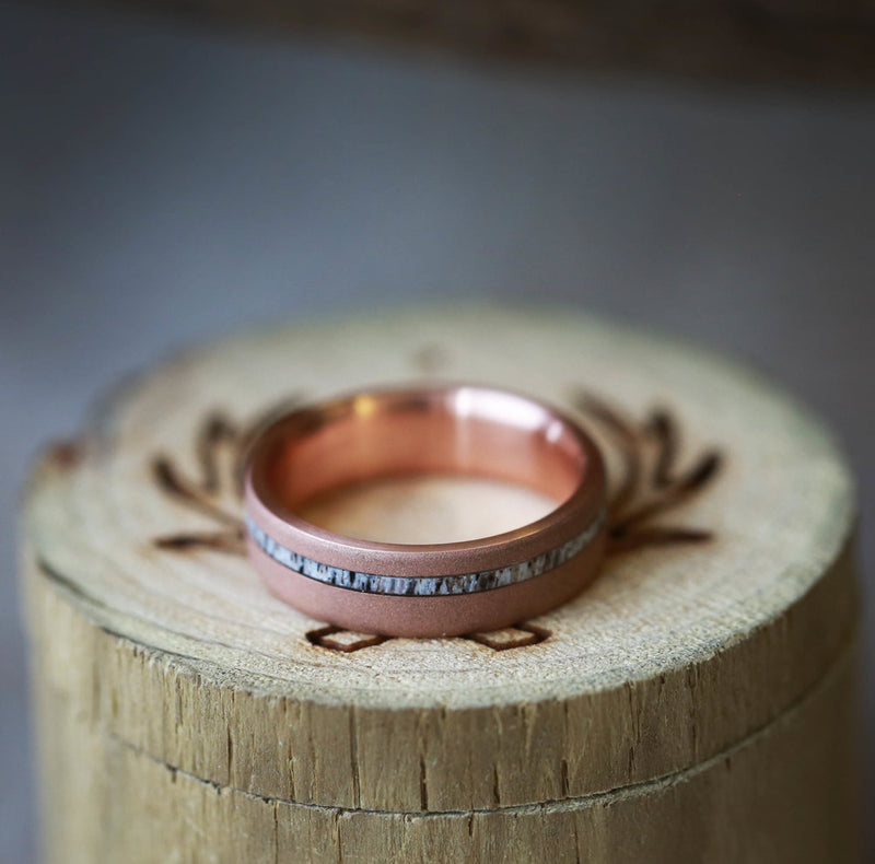"""VERTIGO"" IN SANDBLASTED 14K GOLD RING WITH OFFSET ANTLER INLAY (available in 14K rose, yellow, or white gold) - Staghead Designs - Antler Rings By Staghead Designs"