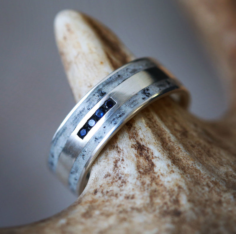 MEN'S 14K GOLD WEDDING RING WITH SAPPHIRES AND ANTLER (available in silver or 14K white, rose & yellow gold) - Staghead Designs - Antler Rings By Staghead Designs